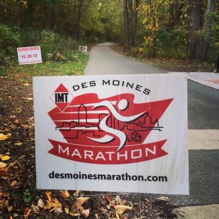Des Moines Marathon sign